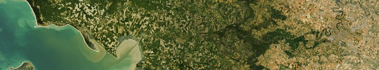 Photographie aérienne du Parc naturel régional du Marais poitevin
