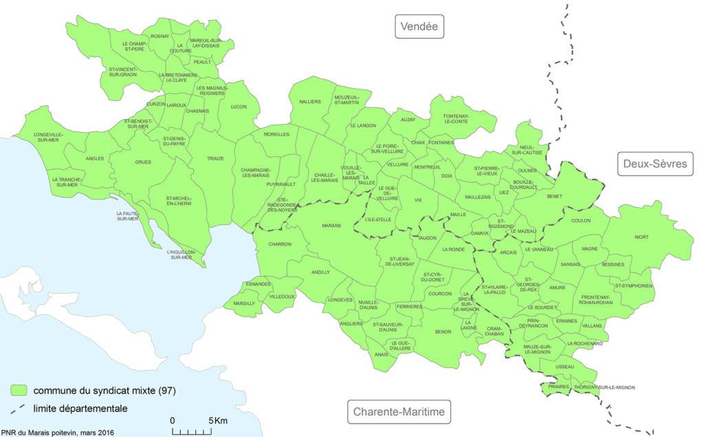 Carte des communes du syndicat mixte du PNR Marais poitevin