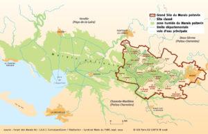 Carte du PNR Marais poitevin et périmètre du Grand Site de France et Site classé