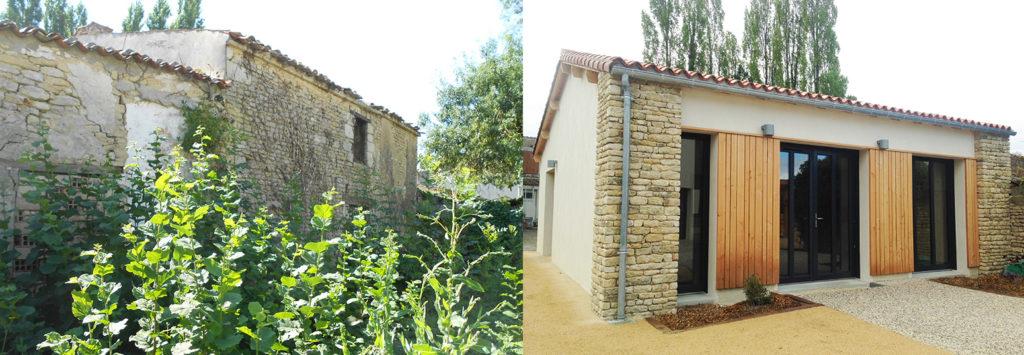 Maille - Avant après - Transformation d'une ancienne maison en salle communale dans le cadre de l'Opération Grand Site de France