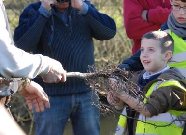 Toucher les racines d'un arbre, ça n'arrive pas tous les jours. Plantations par des écoliers dans le Parc naturel régional du Marais poitevin