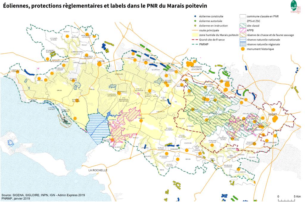 Eoliennes, protections reglementaires et labels dans le Parc naturel régional du Marais poitevin