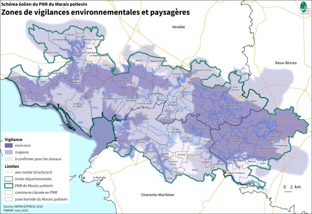 Schéma éolien du Parc naturel régional du Marais poitevin, zones de vigilances environnementales et paysagères