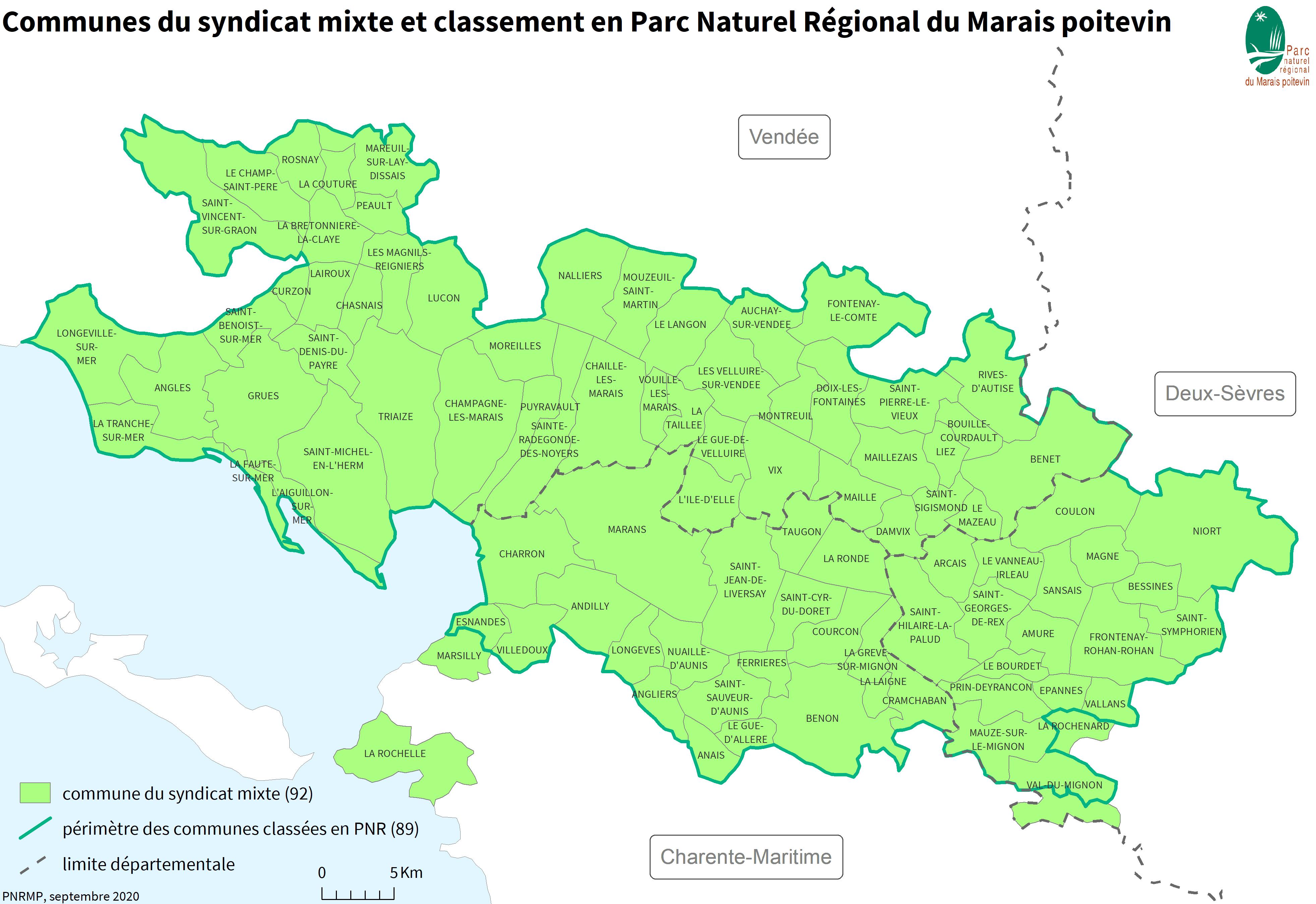 Communes du syndicat mixte et classement en PNR Marais poitevin - Septembre 2020